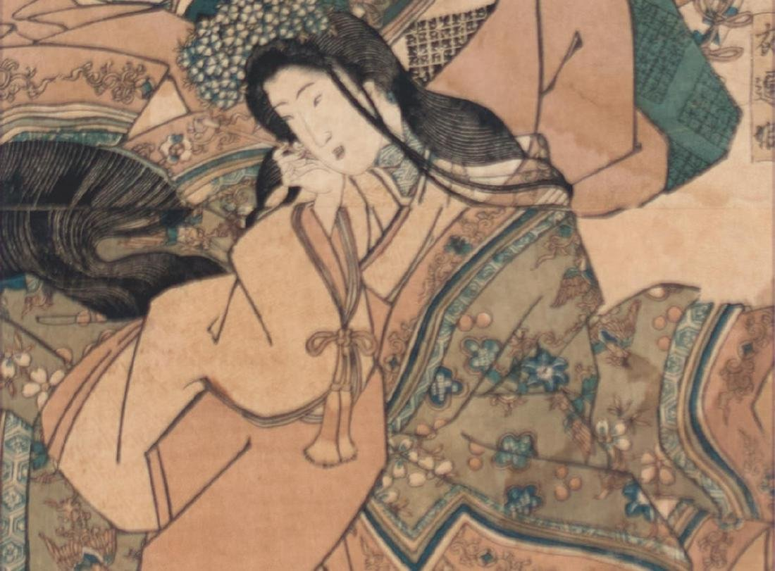 Two Japanese Woodblock Prints By Kunisada and Yeische - 5