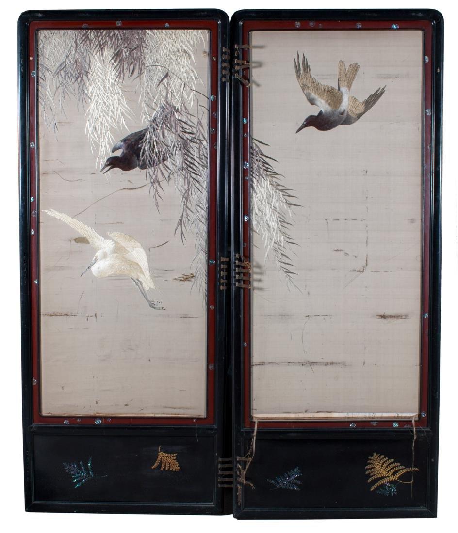 Two Panel Screen, 19th Century Japanese Silk
