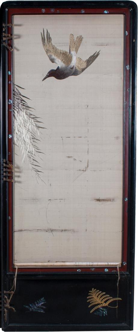 Two Panel Screen, 19th Century Japanese Silk - 5