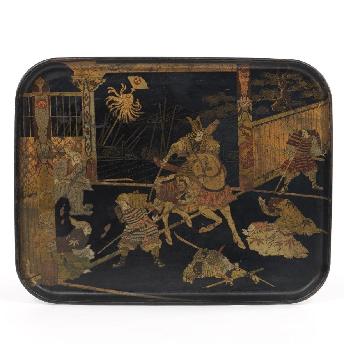 Japanese Lacquered Tray Depicting a Warrior Punishing