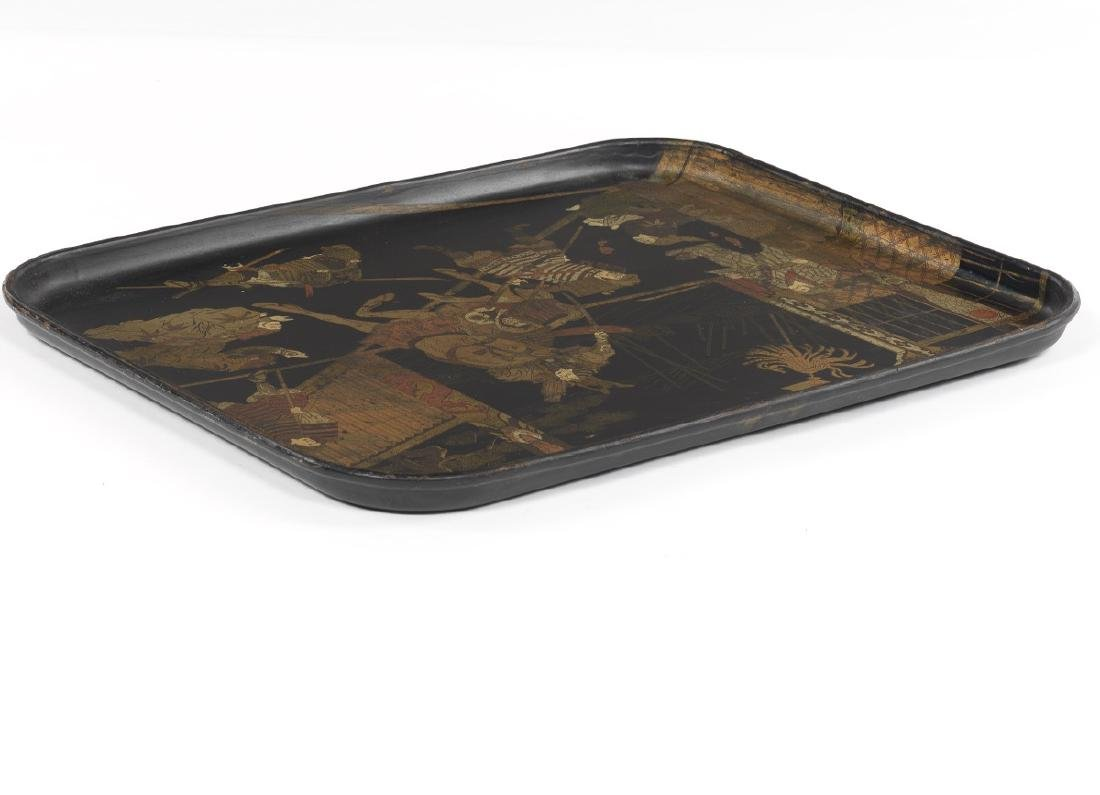 Japanese Lacquered Tray Depicting a Warrior Punishing - 4