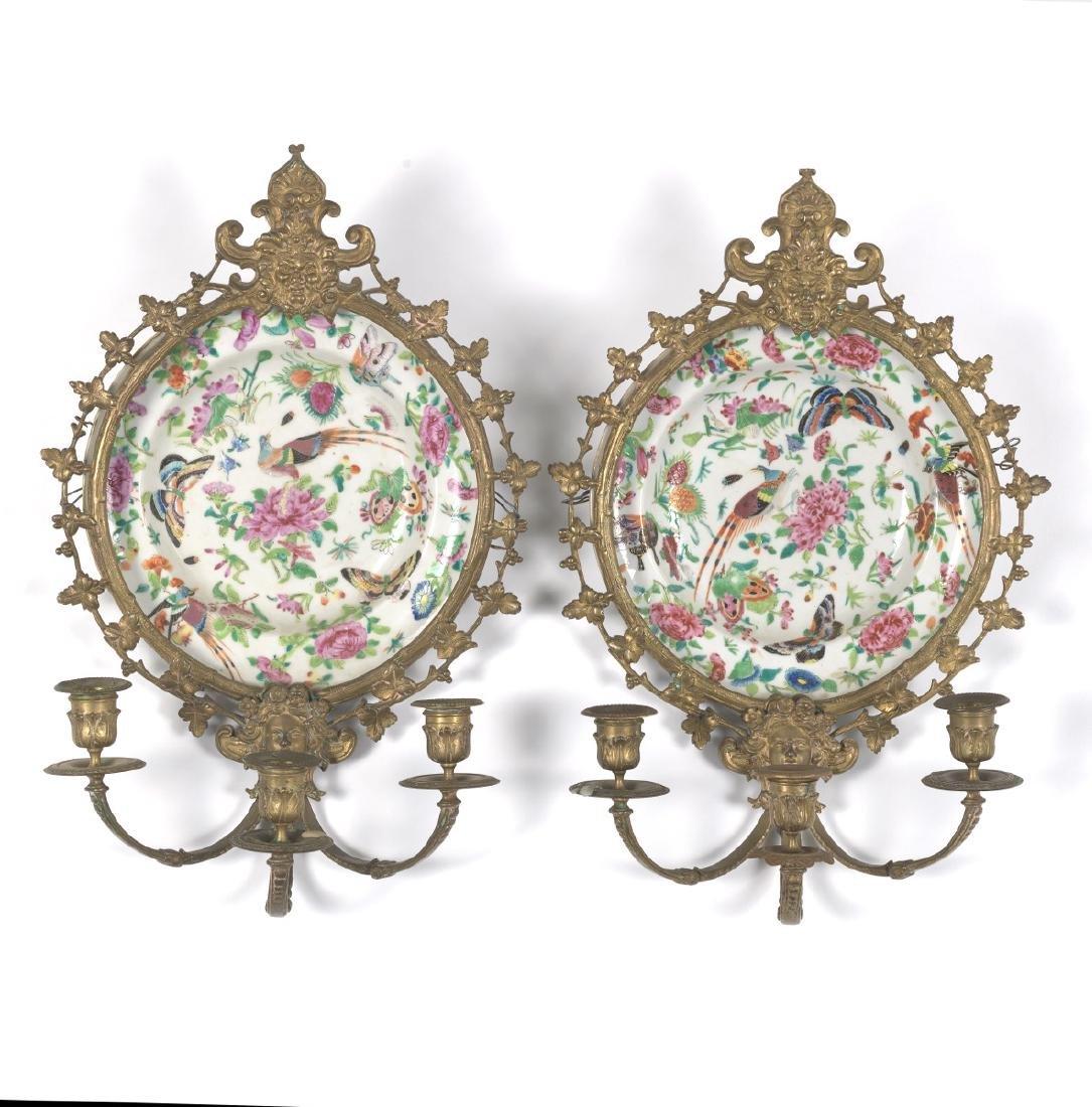 Pair of Ormolu Mounted Famille Rose Platters Designed