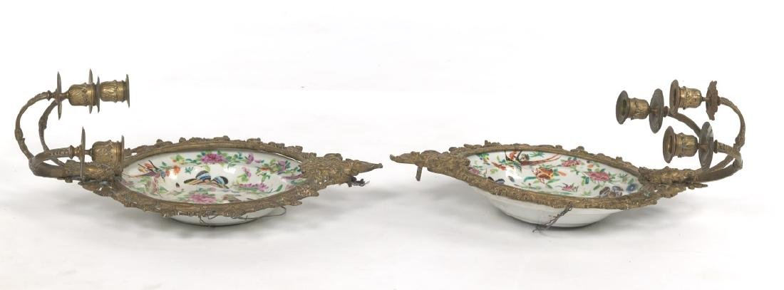 Pair of Ormolu Mounted Famille Rose Platters Designed - 2