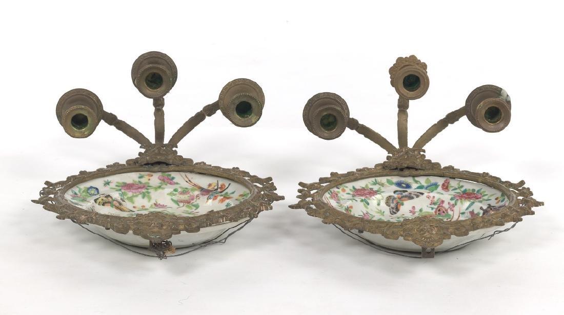 Pair of Ormolu Mounted Famille Rose Platters Designed - 3
