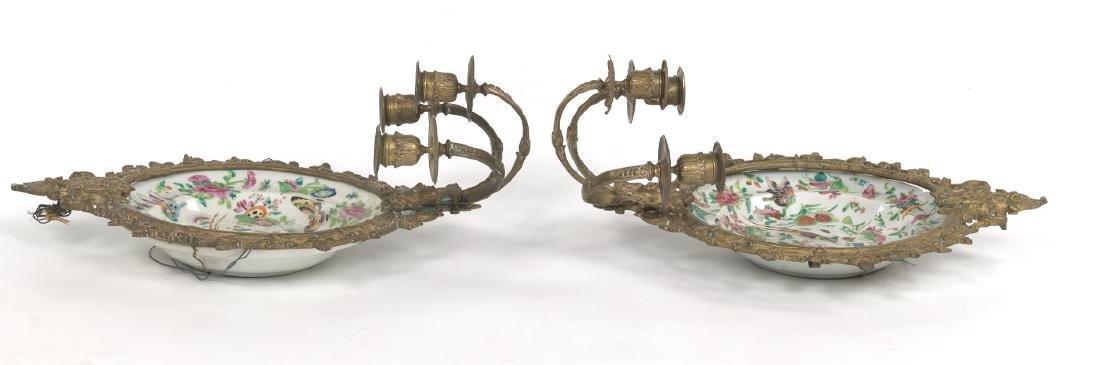 Pair of Ormolu Mounted Famille Rose Platters Designed - 6