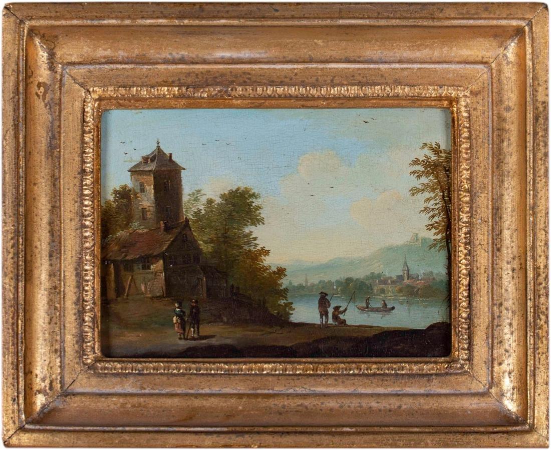 Dutch Town, Charming Genre Scene, 18th Century