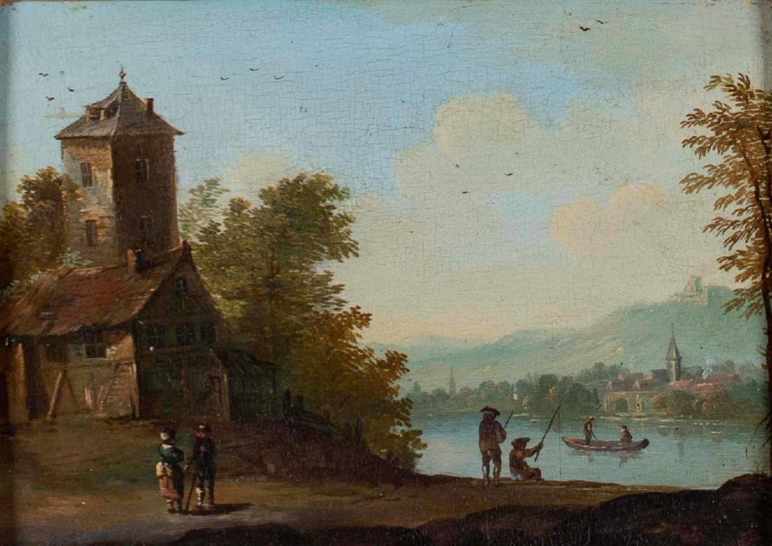 Dutch Town, Charming Genre Scene, 18th Century - 2
