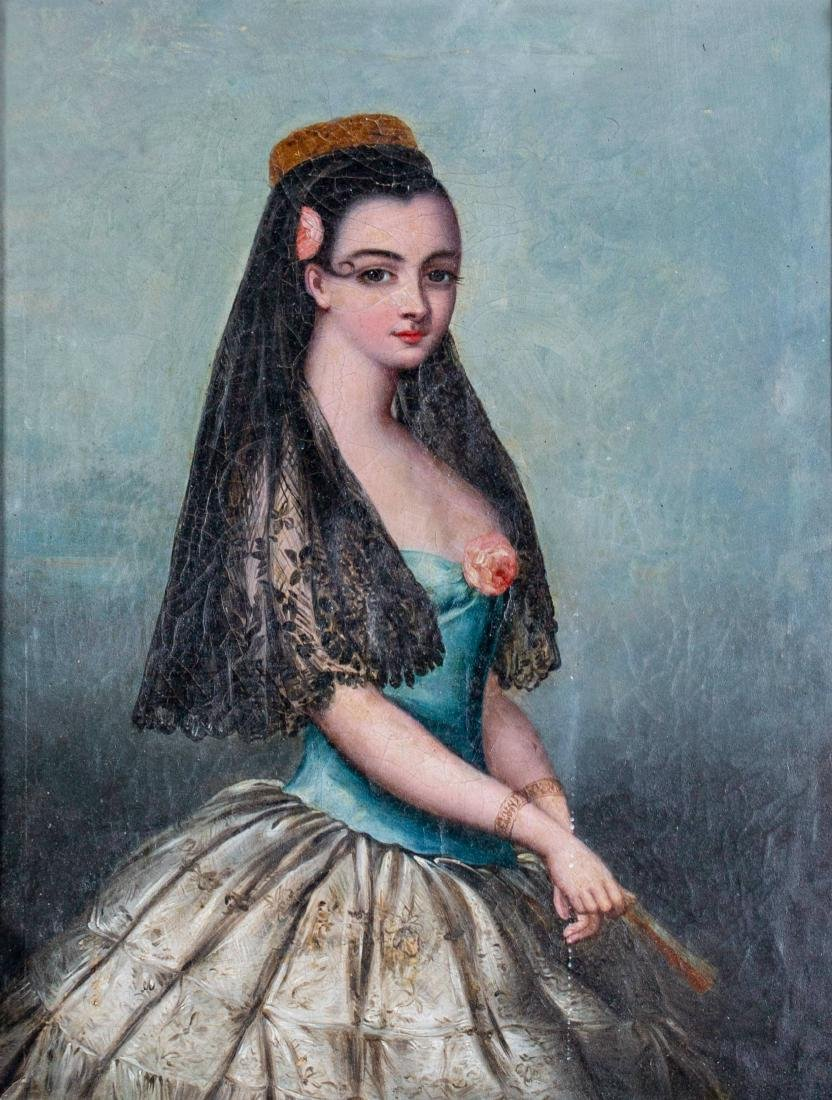Provencal Portrait of Woman with Rose and Veil, 19th - 2