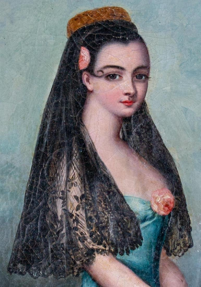 Provencal Portrait of Woman with Rose and Veil, 19th - 3