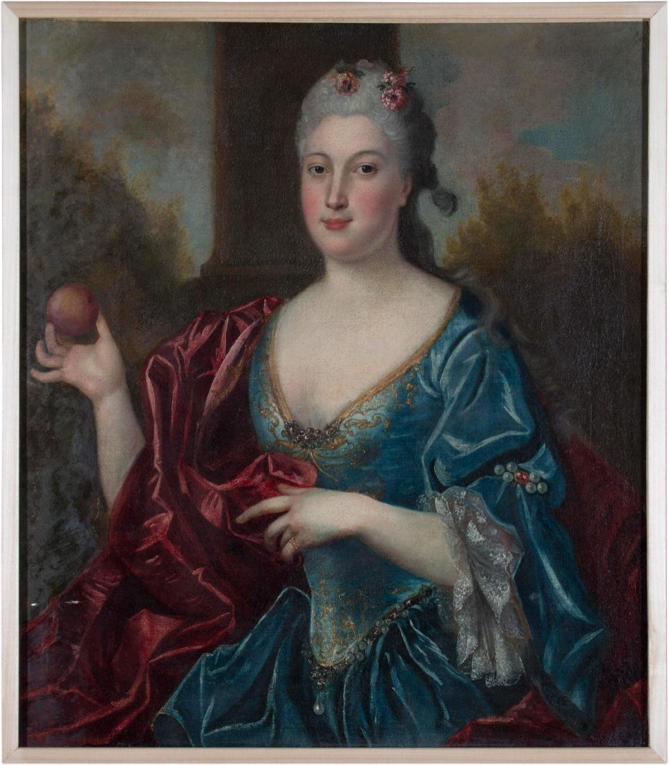 Continental Portrait of Woman with Apple, 18th century