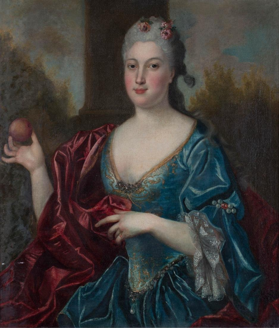 Continental Portrait of Woman with Apple, 18th century - 2
