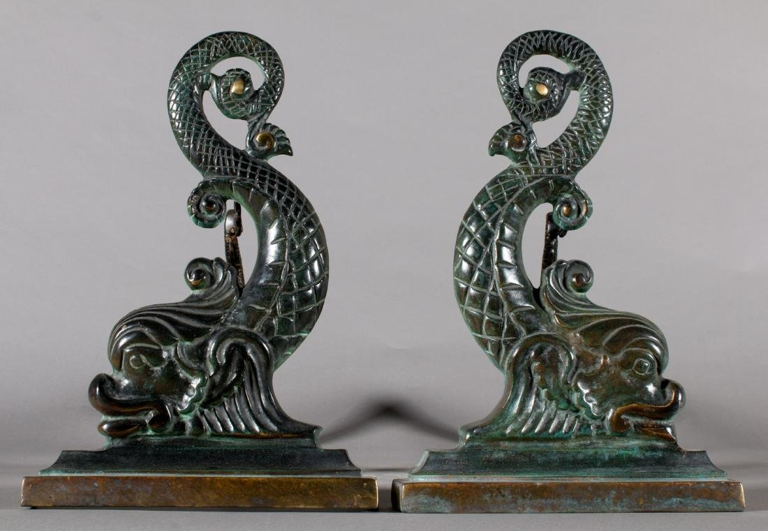 Pair of Cast Bronze Dolphins in the form of Andirons