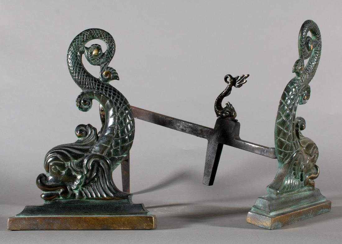 Pair of Cast Bronze Dolphins in the form of Andirons - 2