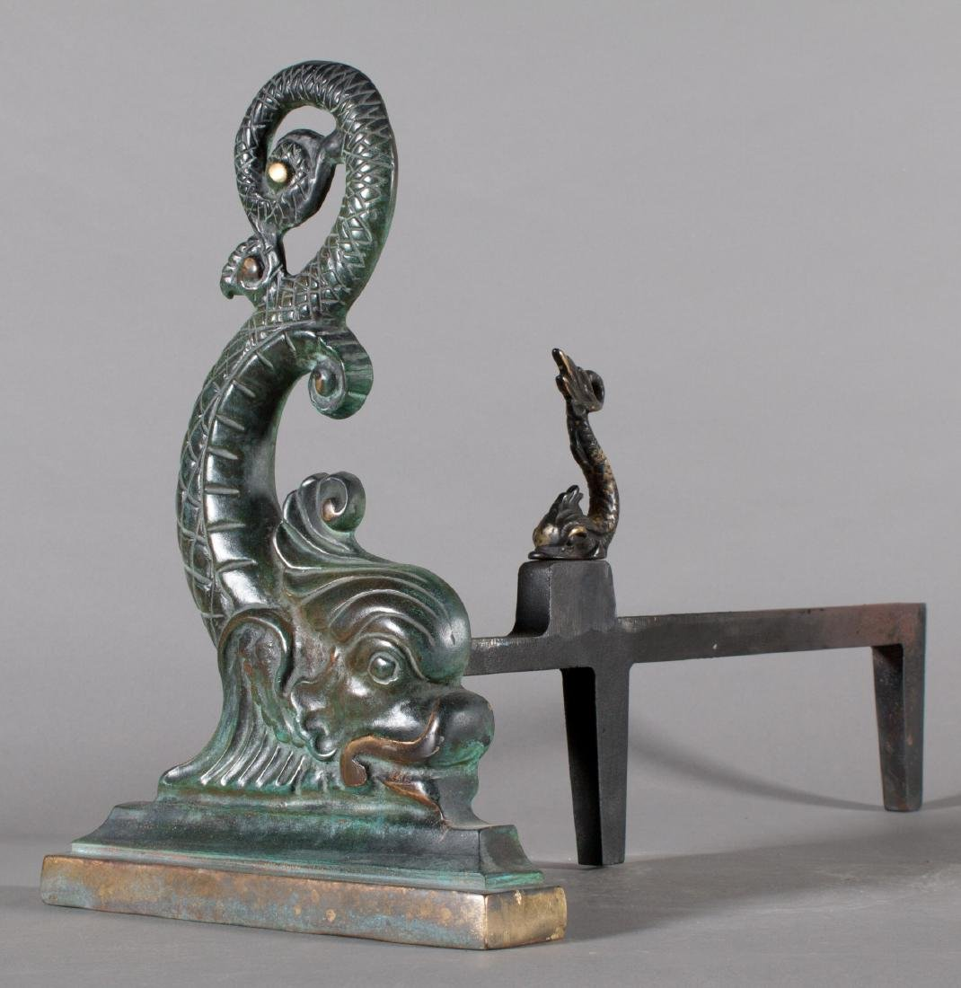 Pair of Cast Bronze Dolphins in the form of Andirons - 4