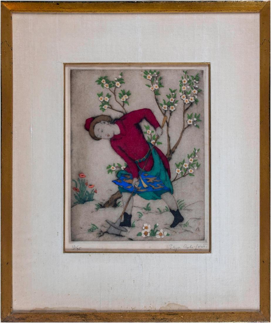 Elyse Ashe Lord (English, 1900-1971) Figure in Garden