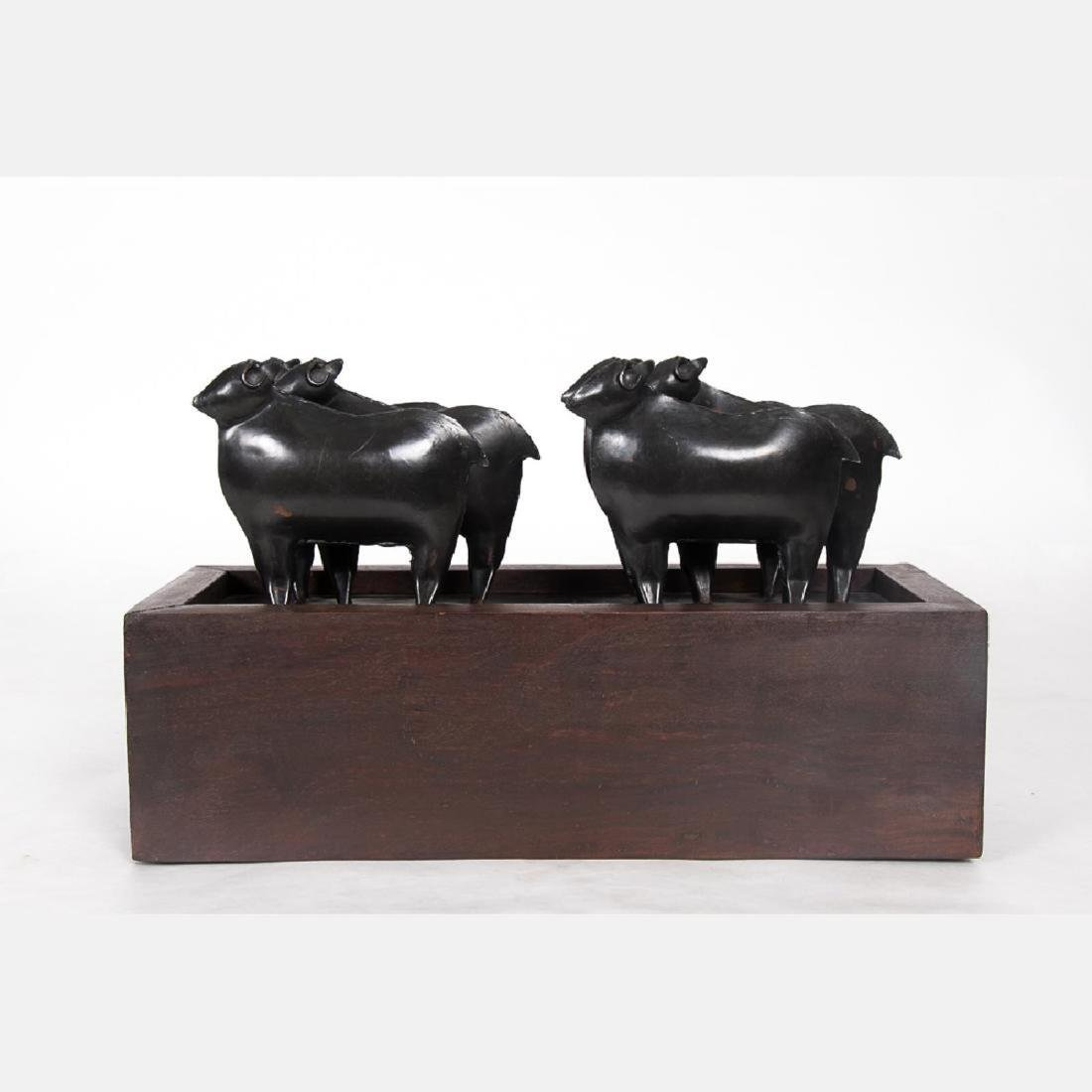 A Contemporary Bronze and Wood Sewing Box - 3
