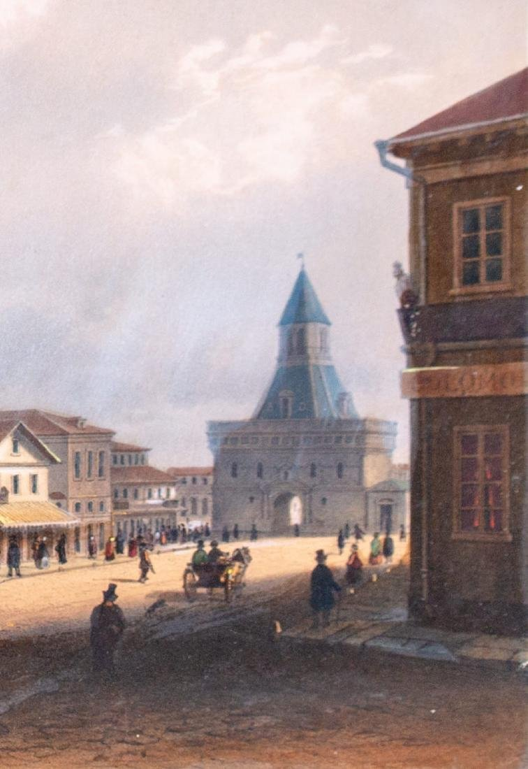 Hand Colored Engraving Russian City Scene - 5