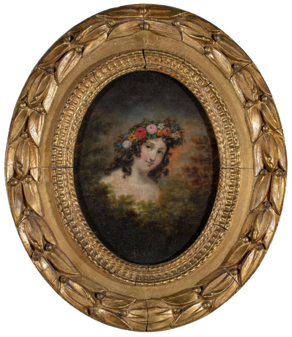 19th Century American Portrait of a Young Woman Adorned
