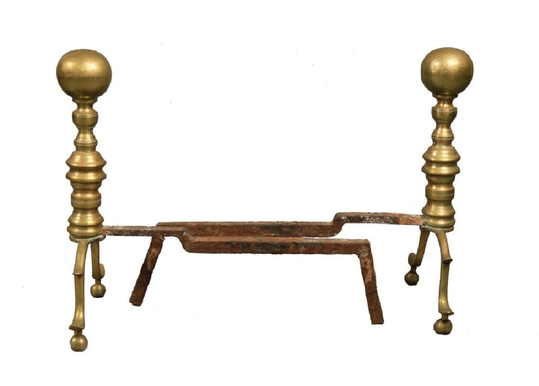 Pair of Antique Brass Andirons, 19thc. - 2