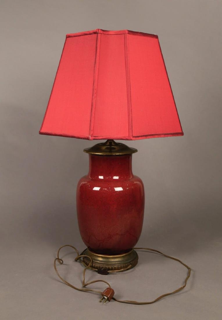A Chinese Oxblood Glaze Vase, Fitted as a Lamp