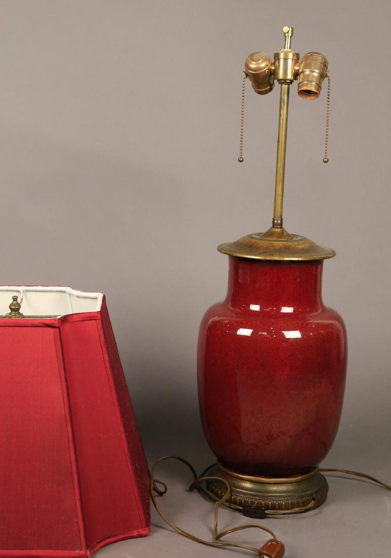 A Chinese Oxblood Glaze Vase, Fitted as a Lamp - 3