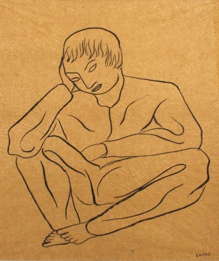 Two Ink Drawings, Man Sitting and Laboring Man - 3