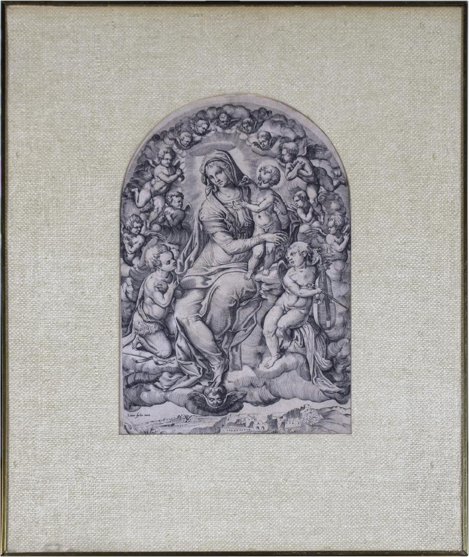 Old Master Print of Madonna after Raphael