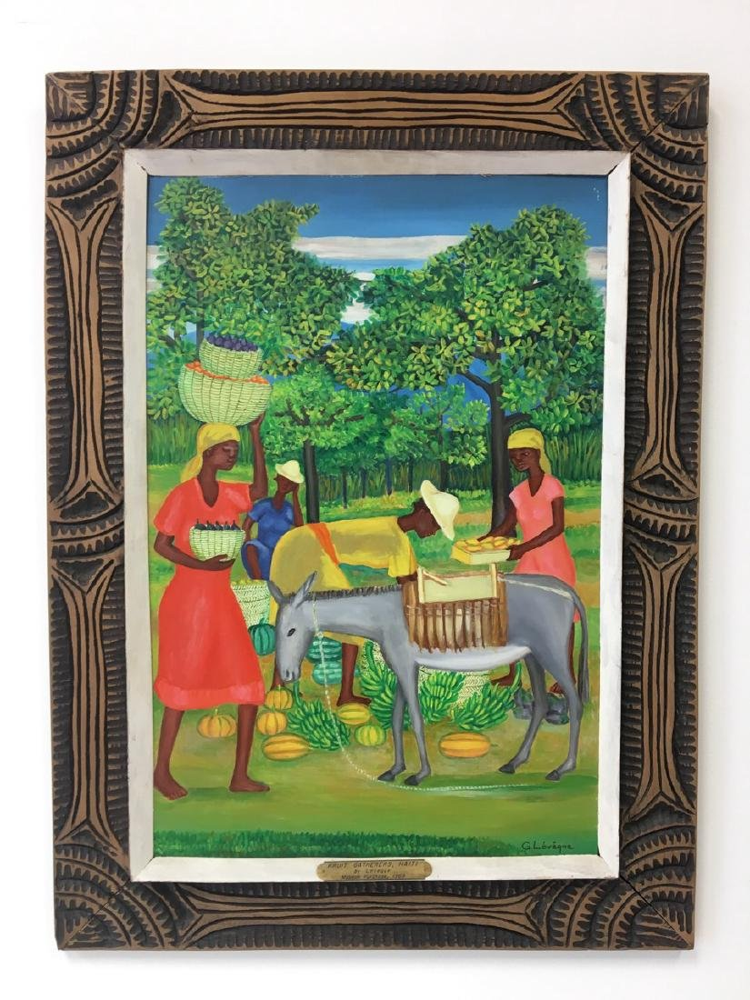 """""""Fruit Gatherers"""", Haitian Painting by G. Leneque"""