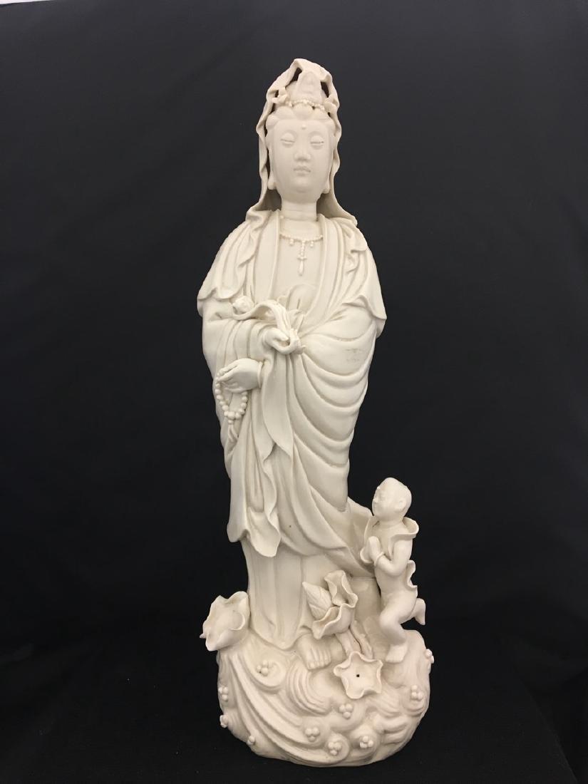 Chinese Blanc De Chine, Signed Figure of Deity