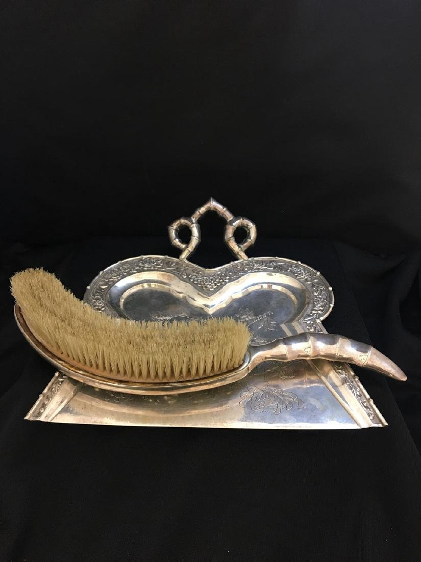 Chinese Silver Duster and Pan