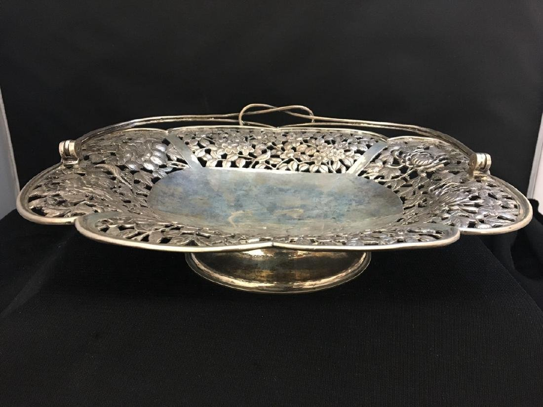 Chinese Silver Rectangular Reticulated Basket