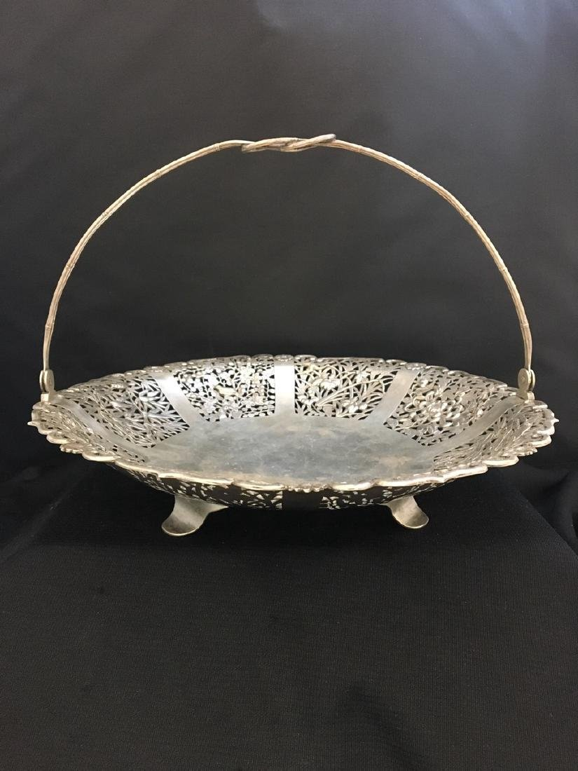 Chinese Silver Reticulated Large Round Basket