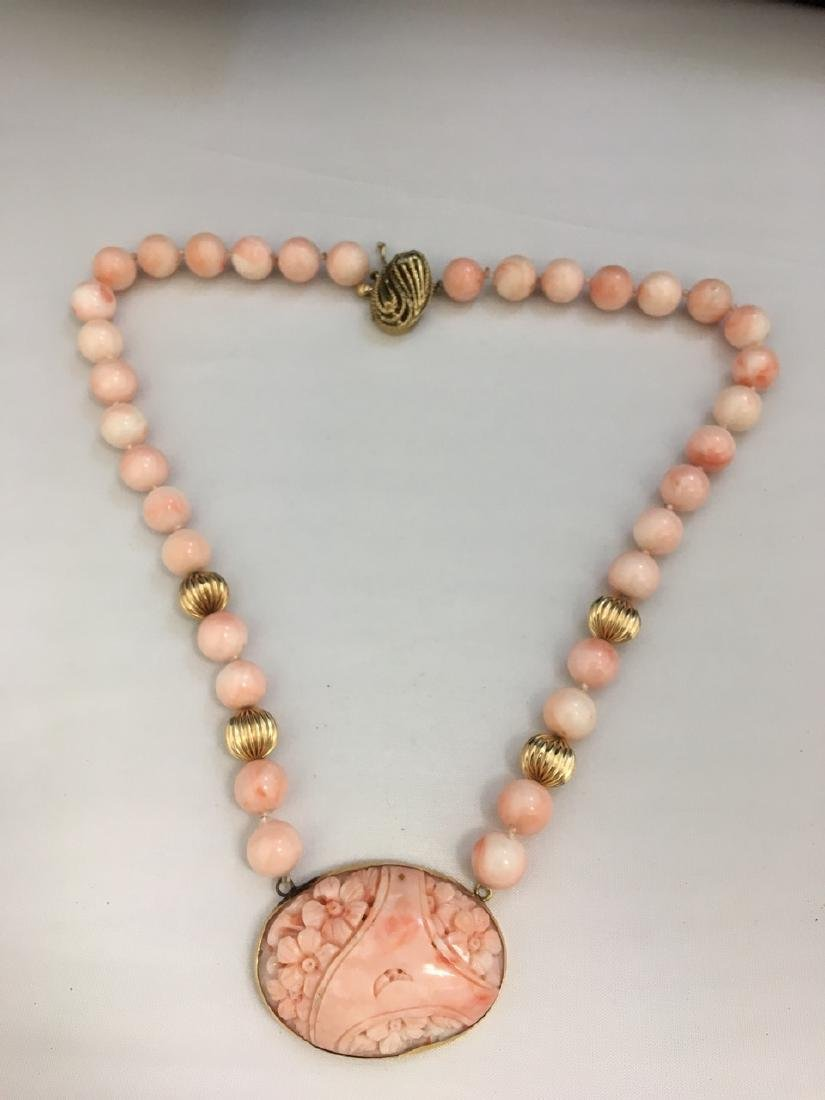 Pink Coral and Gold Necklace