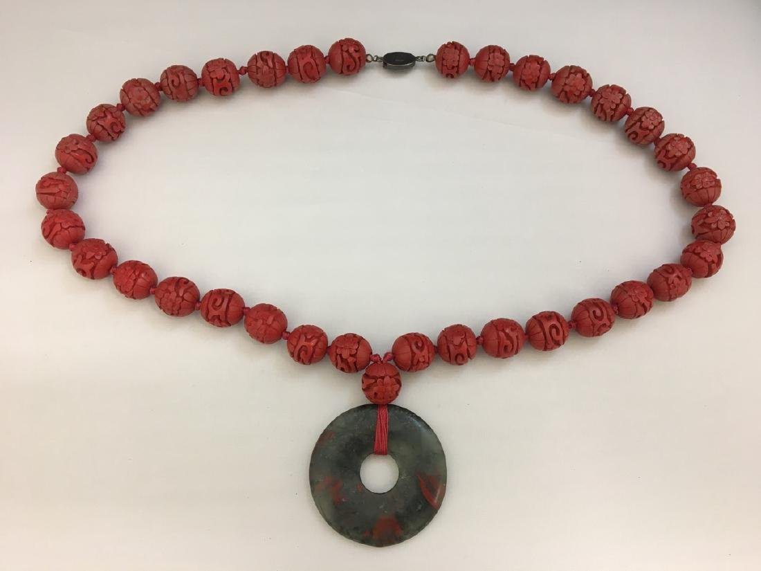 Cinnabar and Jade Necklace