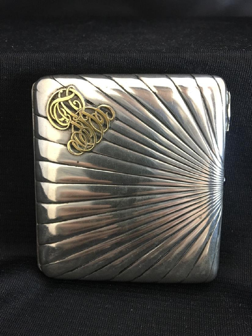 Russian Silver Cigarette Box with Gold Writing