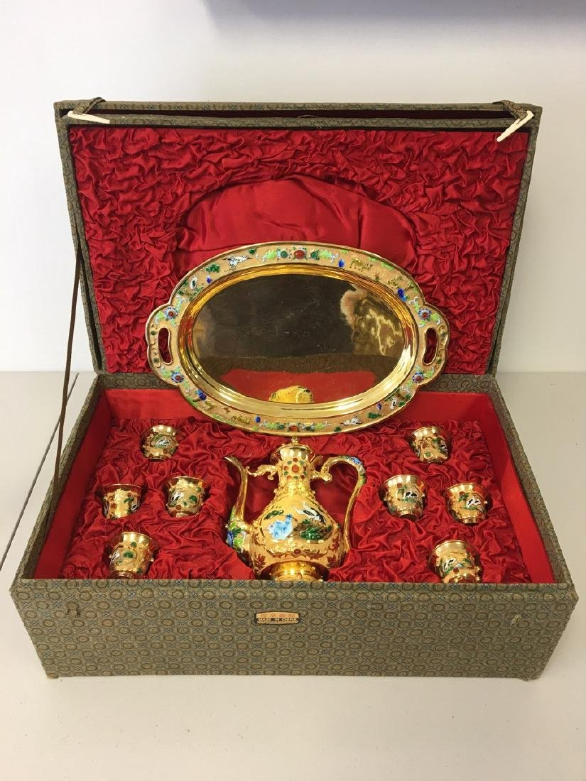 Chinese Rare Gold Gilded Silver Teaset