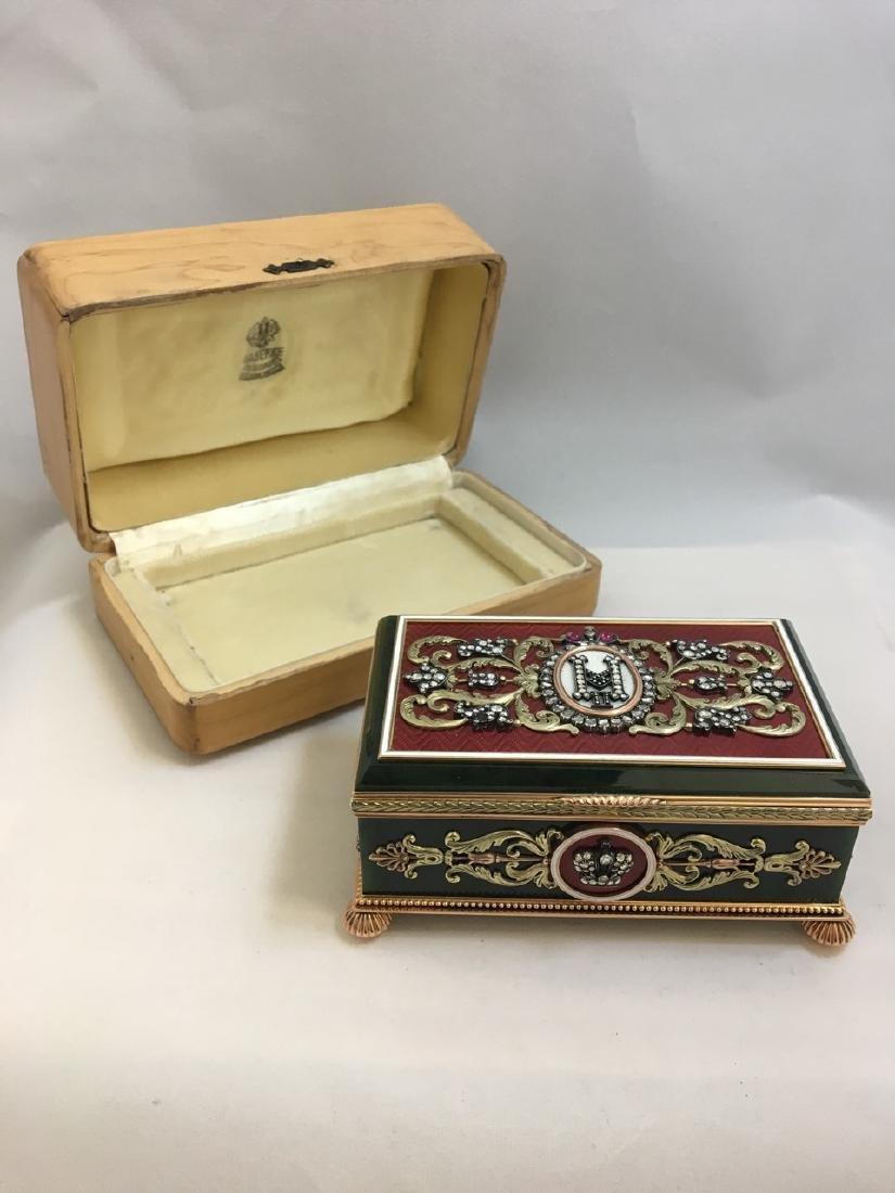 Russian Multicolored Gold, Nephrite, Diamond Box