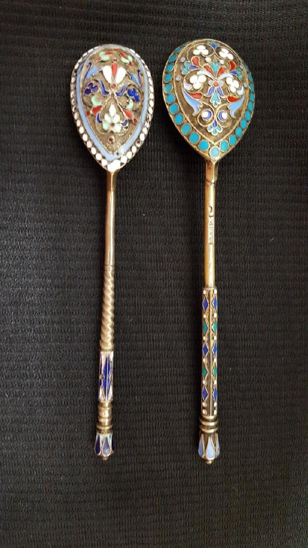 Two Russian Silver Enameled Spoons
