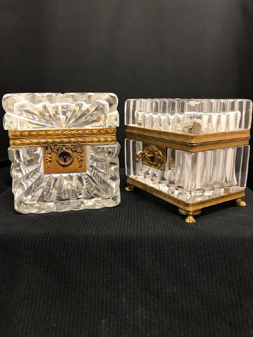 Two Antique Glass Caskets (probably Baccarat)