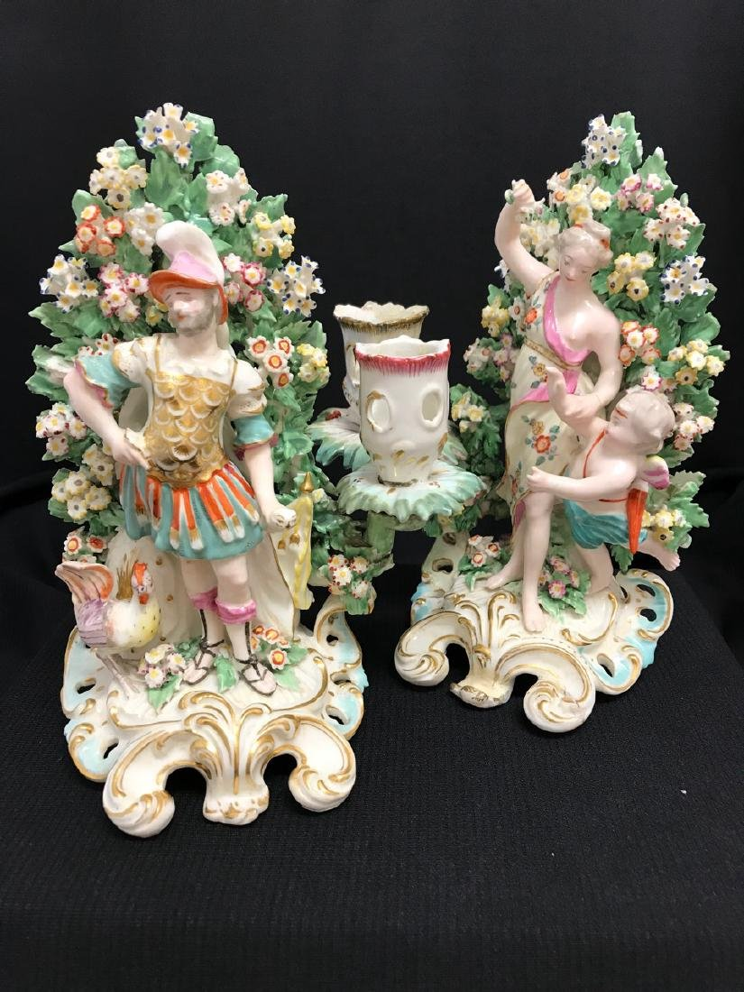 Pair of Porcelain Candlesticks (probably Chelsea)