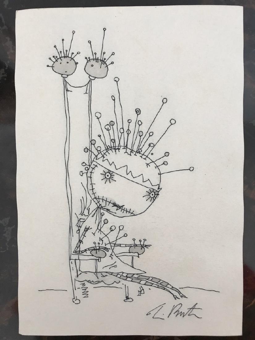 Tim Burton Signed Pen Drawing