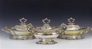 3 American Sterling Silver Covered Tureens