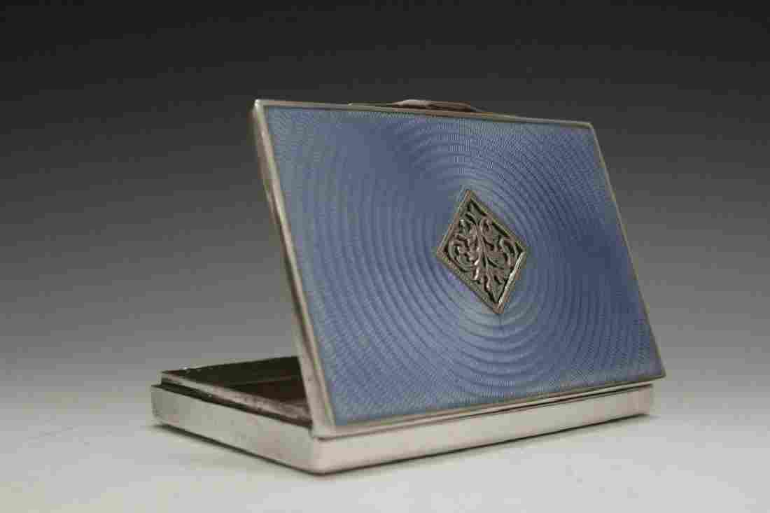 Sterling Silver And Enamel Card Box
