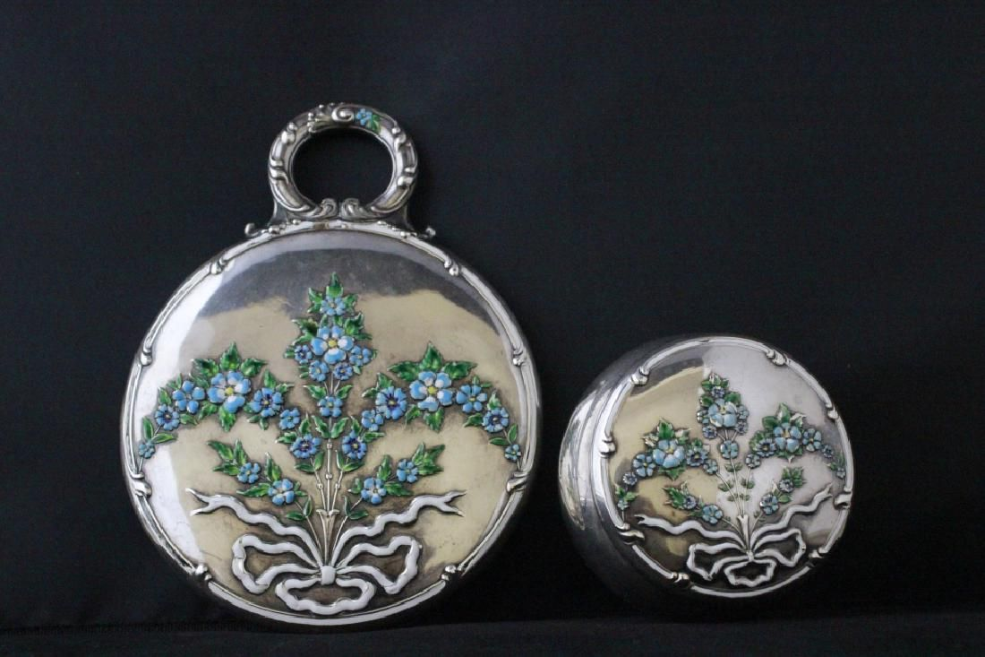 2 Sterling Silver Enameled Items, Mirror & Box