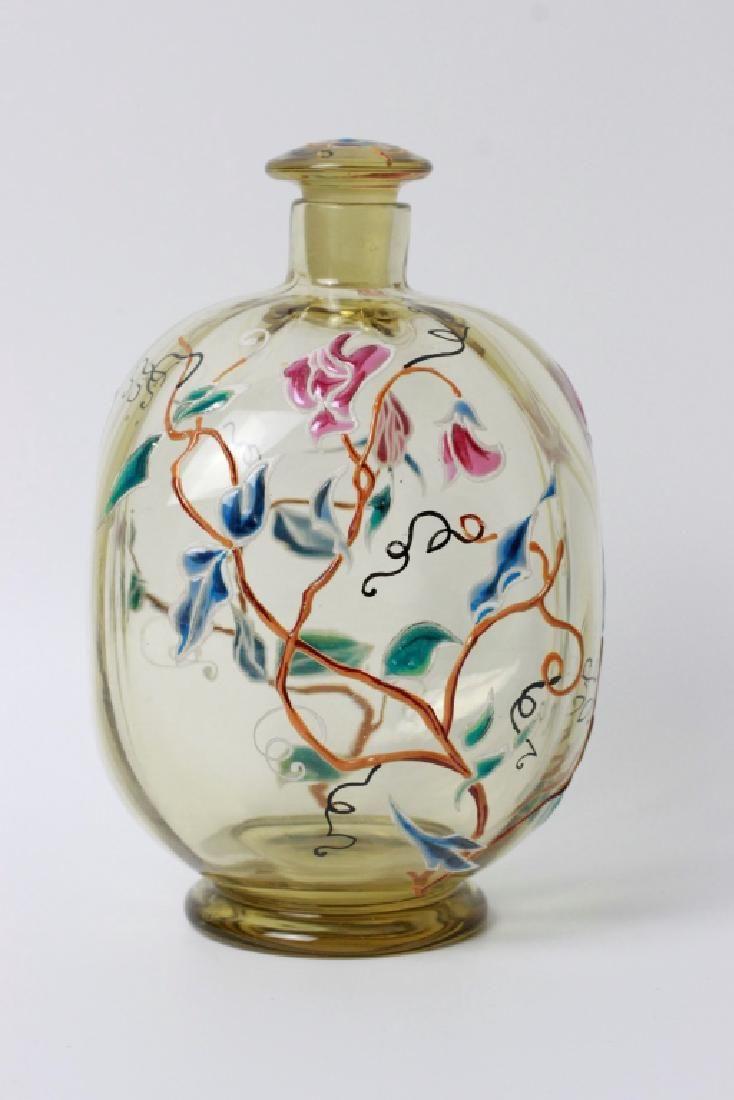 Galle Large Early Enamel Perfume Bottle Circa 1890