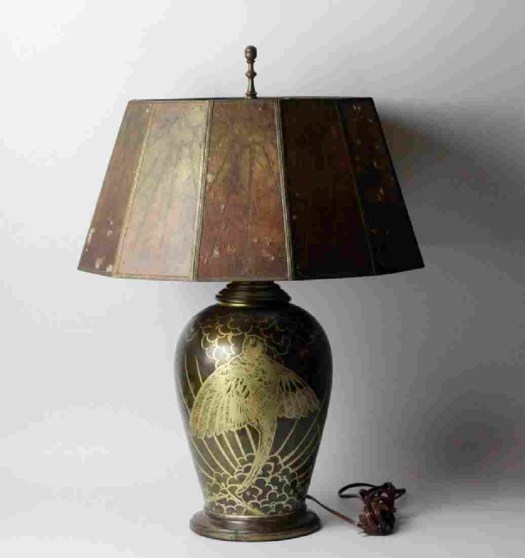 "Rare Art Deco ""dunanderie"" Metal Lamp W Mica Shade"