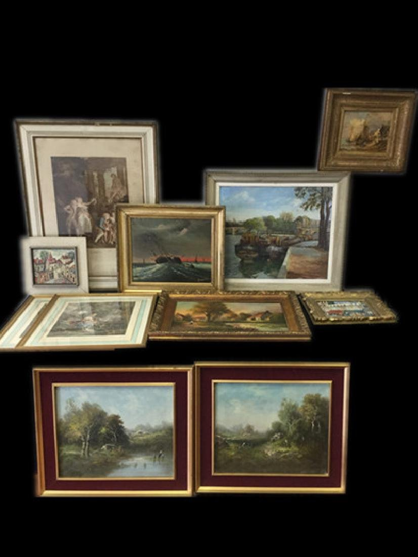 A Lot Of Old Paintings & Prints In Various Sizes