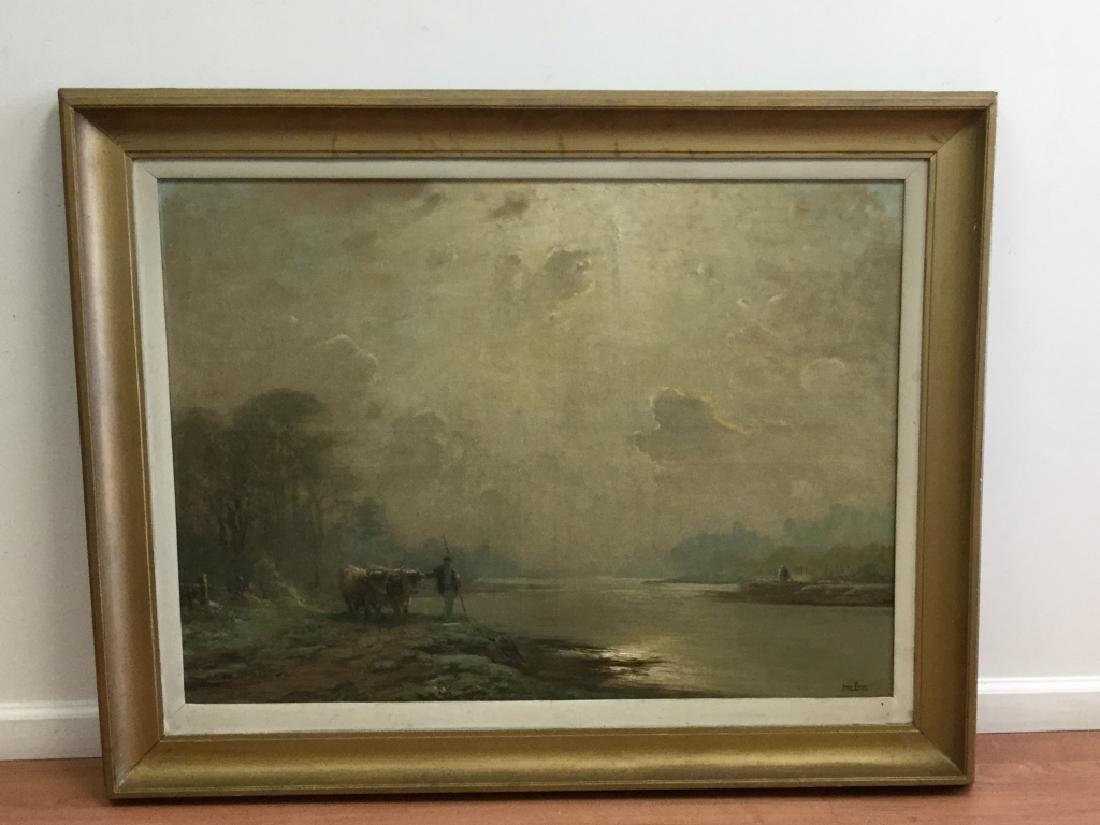 O/C Man W/ Cow In Landscape By Henri Foreau