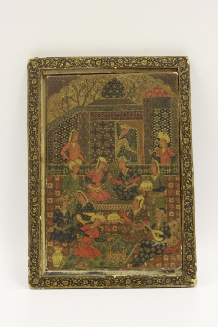 19th Papier Mache Lacquer Persian Mirror Holder