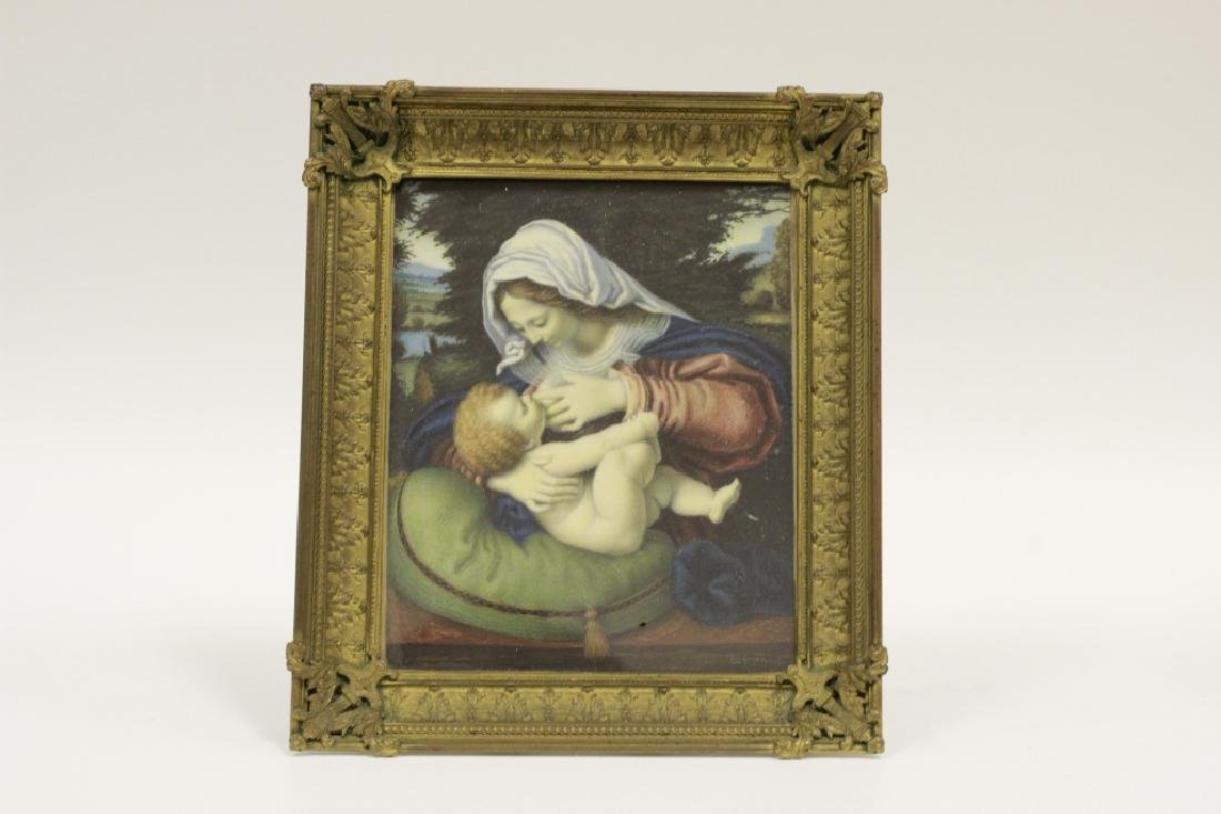 Rare French 19thc Miniature Painting Of Woman & Child